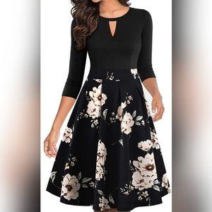 Floral Flared Vintage Classy Dress